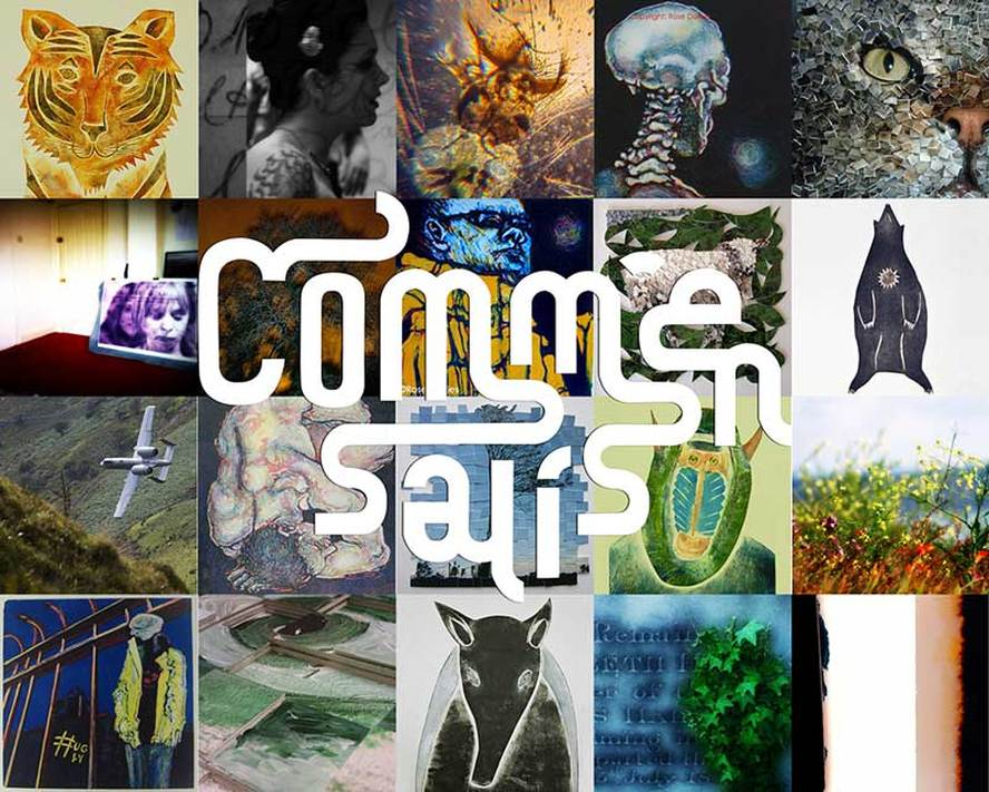 Commensalis Logo with examples of artists work